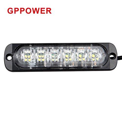 GPPOWER Universal super thin 6-LED White 19-Flashing Mode Car Truck Warning Caution Emergency Construction Strobe Light Bar (1PC White)
