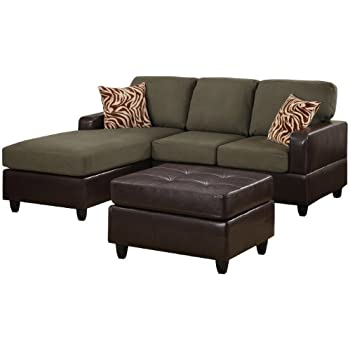 Bobkona Manhattan Reversible Microfiber 3-Piece Sectional Sofa with Faux Leather Ottoman in Sage Color  sc 1 st  Amazon.com : 3 piece sectional sofas - Sectionals, Sofas & Couches