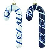 NFL Indianapolis Colts Blown Glass Candy Cane Ornament Set