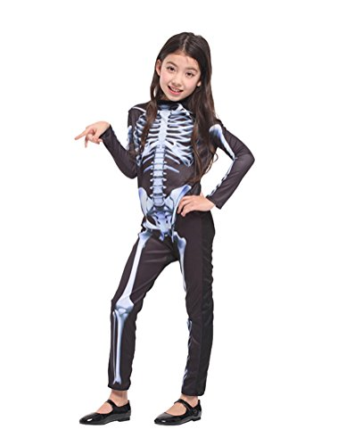 [Nuoqi Nuoqi Skeleton Toddler Costumes Girls Child's Halloween Costumes Medium-(4-6 Years)] (Ghost Halloween Costumes For Toddlers)