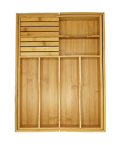 Adjustable Expandable Kitchen Utensil Drawer Organizer and Storage Tray by Bamboo Cottage 100% Bamboo Ergonomic silverware dividers, removable cutlery knife blocks, non slip for kitchen and office. by Bamboo Cottage (Image #1)