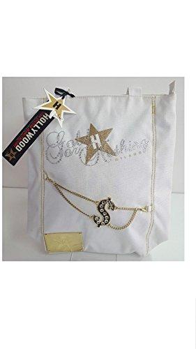 Borsa Shopper Hollywood Milano bianca in tessuto chiusura con cerniera e manici