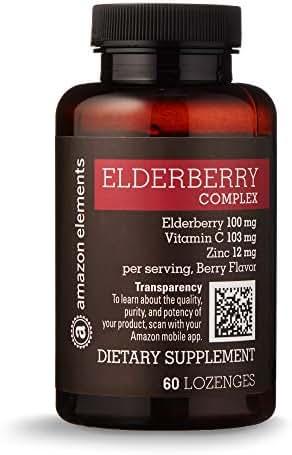 Amazon Elements Elderberry Complex, 60 Berry Flavored Lozenges, Elderberry 100mg, Vitamin C 103mg, Zinc 12mg per Serving