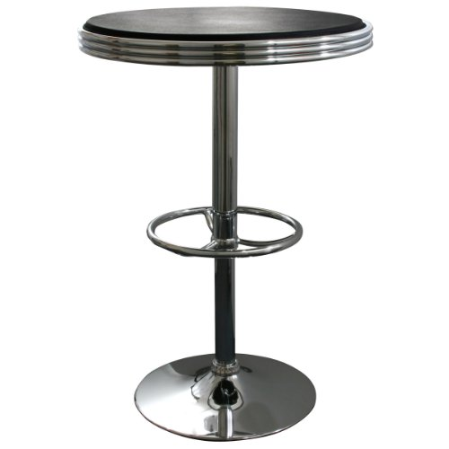 Style Round Bar Weight - AmeriHome Adjustable Height Soda Fountain Style Bar Table, Black