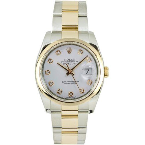 Rolex Mens New Style Heavy Band Stainless Steel & 18K Gold Datejust Model 116203 Oyster Band Smooth Bezel White Diamond Dial (Rolex Stainless Steel Band compare prices)