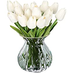 RERXN Artificial Flower Real Touch Mini Tulips Holland PU Tulip Bouquet Home Wedding Decor, Pack of 10 (Pure White)