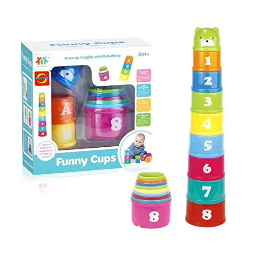 Itari Nesting Cups Baby Building Set Letters and Numbers Colorful Cups by Itari (Image #2)