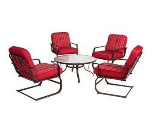 Lawson Ridge 5 Piece Patio Conversation Set, Red, Seats 4 Glass Top Table  And Four Cushioned Chairs. Guaranteed. Extra Comfy Sling Chairs Have  Reversible ...