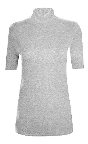 WOMEN POLO TURTLE NECK SHORT SLEEVE LADIES T SHIRT TOP Silver Grey US (Short Sleeve T-shirt Turtleneck)