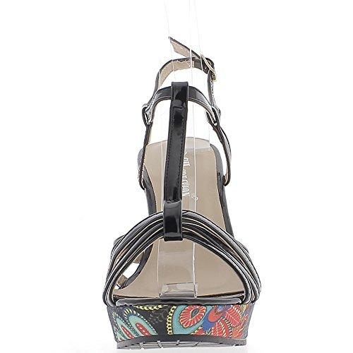 ChaussMoi Sandales Compensées Noires Vernies à Talon Multicolore DE 11 CM avec Fines Brides