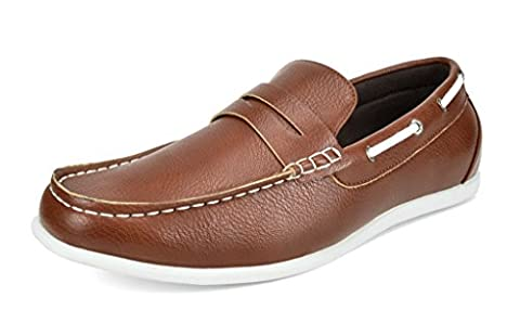 Bruno Marc Men's Kilin-02 Tan Driving Loafers Moccasins Shoes - 12 M US - 2 Leather Casual Shoe