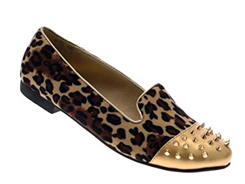 SPIKE STUDS 8 STUDDED SLIPPERS SHOES Leopard GIRLS LD LADIES Outlet MUKES FLATS LOAFERS WOMENS Suede BALLET 3 NEW PUMPS ttIaX