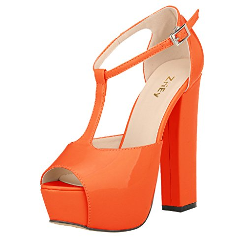 ZriEy Women's Peep Toe 14CM / 5.5 inches High Heel T-Strap Platform Chunky Heels Party Wedding Sandals Orange size (Orange Platforms Heels)