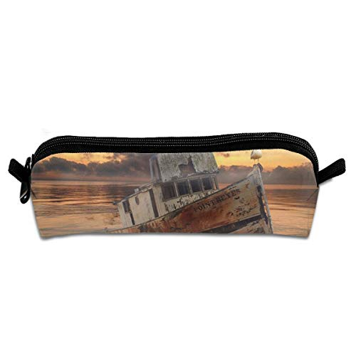 Wodehous Adonis Watercolor Sunset Boat With Seagulls Canvas Cosmetic Pen Pencil Stationery Pouch Bag Case