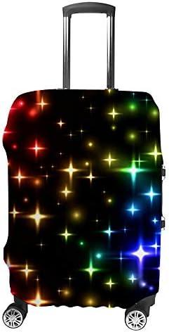 スーツケースカバー 伸縮素材 トラベルダストカバー キャリーカバー 紛失防止 汚れや傷防止 お荷物保護 トラベルダストカバー 着脱簡単 通気性 海外旅行 出張用 便利グッズ 男女兼用 カラフルな星の花火