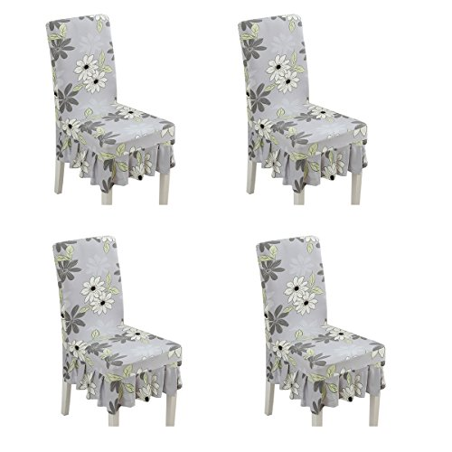 Deisy Dee Print Pattern Ruffled Long Skirt Dining Chair Slipcovers (Pack of 4) C028 (Grey -