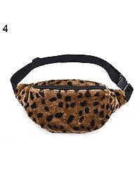 Hbinydepial Women Winter Plush Fluffy Purse Waist Bag Coin Phone Holder Pouch Chest Fanny Pack Leopard Print*