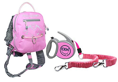 MDXONE Kids Snowboard Ski Harness Trainer with Retractable Leash and Absorb bungees (Pink) 2018-2019 (Learn To Ski)