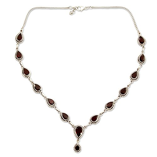 NOVICA .925 Sterling Silver and Garnet Y-Necklace, 17 , Halo of Beauty