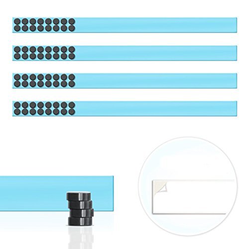 Master of Boards Magnet Strip | Magnetic Display Rail with Adhesive Backing | Memo Board for Photos, Shopping or Kitchen Grocery Lists | 4 Pieces - 20 ' - 32 Magnets | Blue