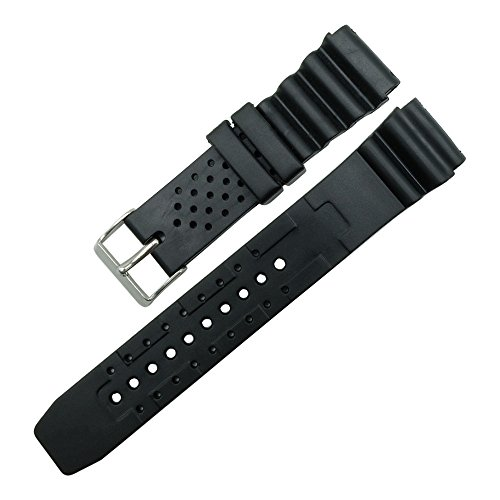 (Lakyband Men Women's Silicone Soft Hyper Black Rubber Watch Strap Band 18mm/20mm/22mm Black 22mm)