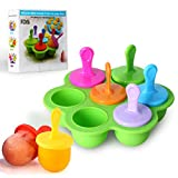 Mini Silicone Popsicle Mold, 7-cavity DIY Ice Pop Mold with Colorful...