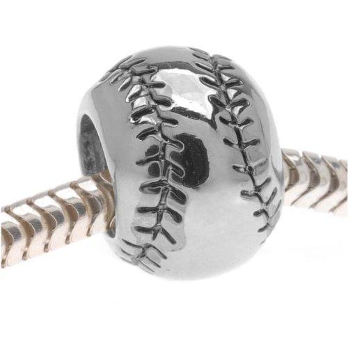 Beadaholique Baseball or Softball Large Hole Bead, Fits Pandora, Silver Tone