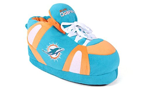 hins - XL - Happy Feet & Comfy Feet NFL Slippers (Happy Dolphin)