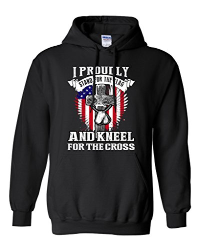I Proudly Stand For The Flag And Kneel For The Cross DT Sweatshirt Hoodie (X Large, Black) (Sweatshirt Cross Hoodie Mens)