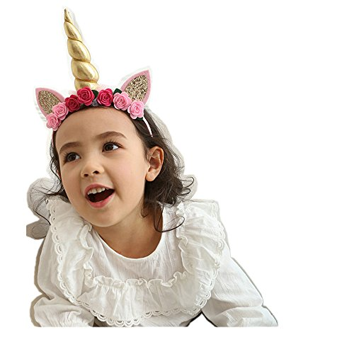 Gold Travel Costumes (Unicorn Horn Headband Rose Flower for Halloween Cosplay Costume Headwear, 1 Piece (Gold))
