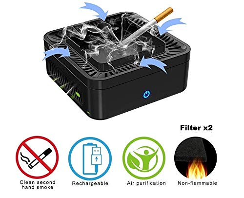 WXLAA Multifunctional Ashtray Air Purifier,Ash Holder for Smokers,Performance Carbon Filter USB Charging Protect Family Health