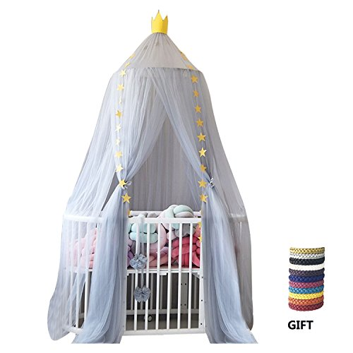 XINYI Mosquito Net Bed crib Canopy Round Lace Dome Netting Hanging Decoration Indoor for Baby Kids Children's Room Accessories grey
