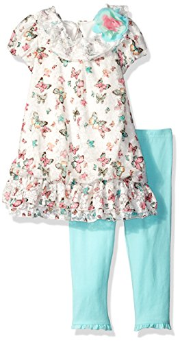 Nannette Little Girls' Toddler Butterfly Print Chiffon Bubble Dress Set With Legging, Mint, 3T (Set Butterfly Mint)