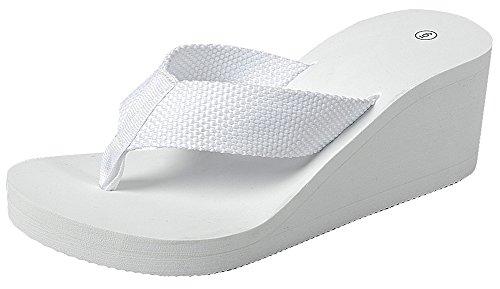 Cambridge Select Donna Open Toe Infradito Con Zeppa Sandalo Infradito Bianco