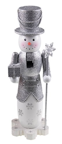 Tall Snowman Nutcracker by Clever Creations | Glittery Silver Outfit with Tophat | Holding Gift and Snowflake Scepter | Perfect for Any Collection | Festive Christmas Decor | 14
