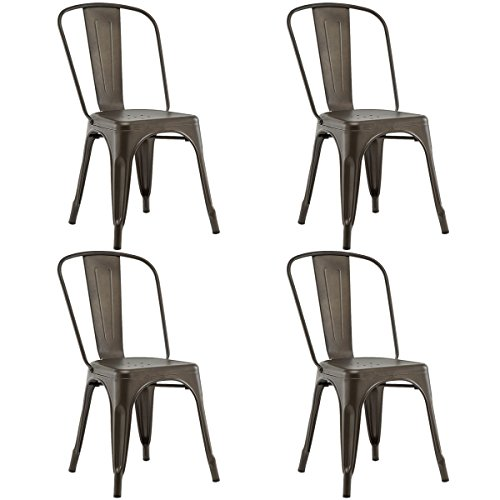 - COSTWAY 4 Set of 4 Tolix Style Metal Stackable Industrial Vintage Chic High Back Indoor Outdoor Dining Bistro Café Kitchen Side Chair (Copper)