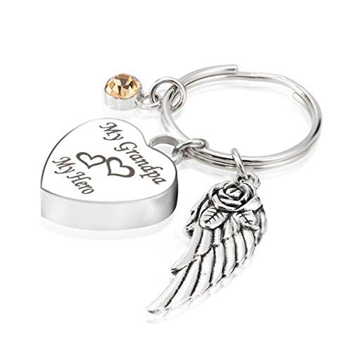 Engraved PerGrandPaalised My GrandPa My Hero Cremation Urn Jewelry Keychain Memorial Ash Keepsake November Topaz Birthstone Angel Wings Charms Pendant ()