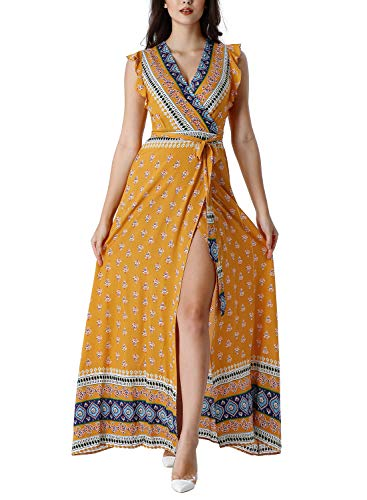 VFSHOW Womens Summer Boho Tribal Print Ruffle Sleeve V Neck Pockets Split Casual Beach Party Wrap Maxi Dress G2958 YEL XS (Print Tribal Sleeveless)