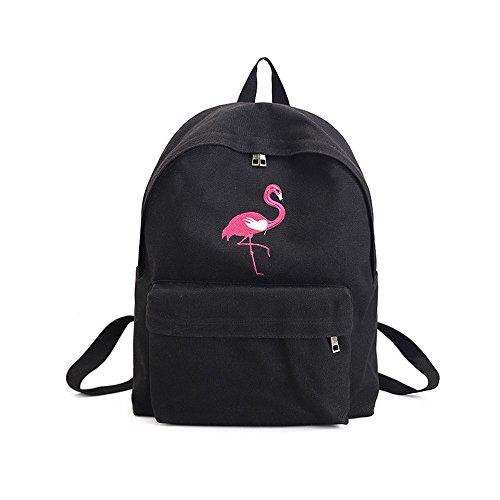 Fueerton - Bolso mochila de Lona para mujer negro