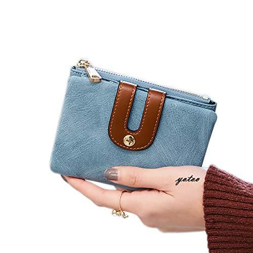 Women's RFID Bifold Leather Wallet Ladies Mini Purse with id Window Small Zipper Pocket for Coin Card Key Cash,Soft Spaces Thin (Blue)