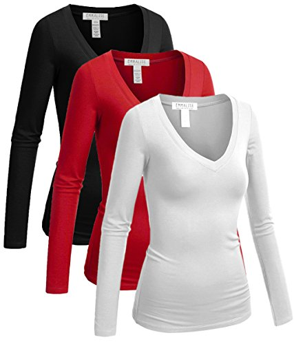 Quality Women Red T-shirt - Emmalise Long Sleeve V Neck T Shirt Women Tee - 3pk-black,red,white, 3XL