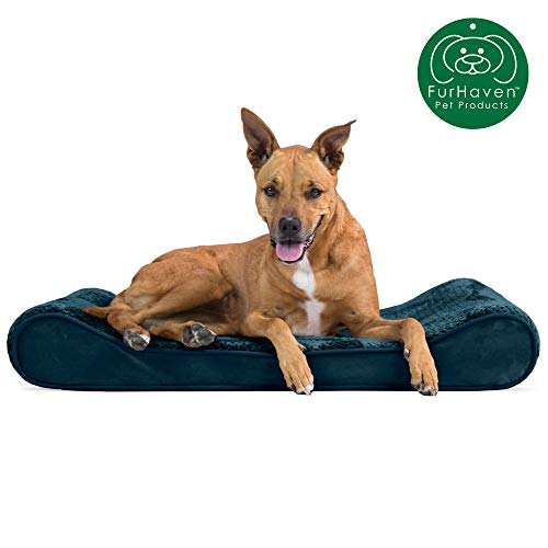 Furhaven Pet Dog Bed | Orthopedic Minky Plush & Velvet Ergonomic Luxe Lounger Cradle Mattress Contour Pet Bed w/ Removable Cover for Dogs & Cats, Spruce Blue, Large