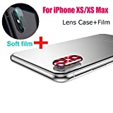 Sinwo New Metal Rear Camera Lens Case Cover Protector Accessory+Film for iPhone Xs/XS Max (Red)