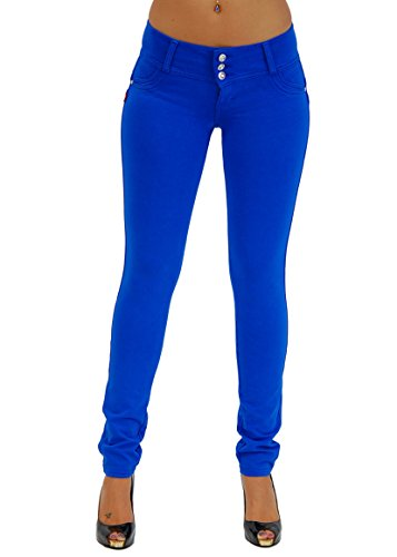 Premium Stretch Cotton Butt lifting, Levanta Cola, Skinny Leg Premium French Terry Fashion Moleton in Royal Blue Size S ()