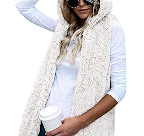 Overcoat White Fleece Pocket Autumn Trim Sleeveless Waistcoat Womens AngelSpace 0pqRwR