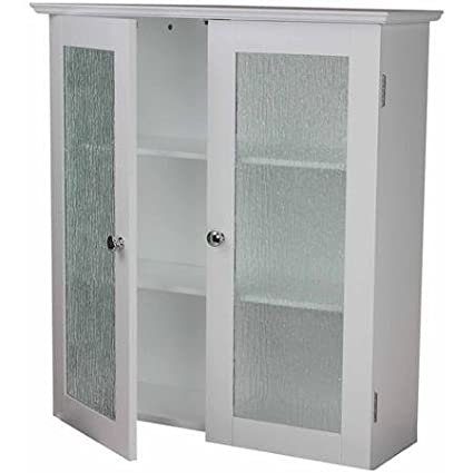Amazon Connor Wall Cabinet With 2 Glass Doors White Double