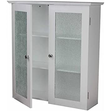 Connor Wall Cabinet With 2 Glass Doors, White, Double Plated Door Knobs Add