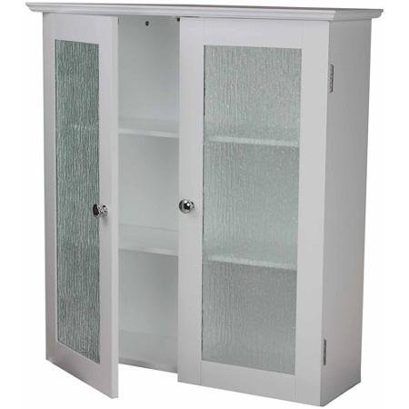 Connor Wall Cabinet with 2 Glass Doors, White, Double-Plated Door Knobs Add a Charming Touch, 3 Fixed Shelves on Cabinet with Doors