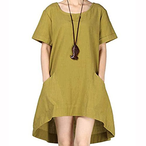 Opeer Women Dresses Plus Size Bohemia Casual Solid Short Sleeve Cotton Linen Dress S-4XL (2XL, Green)