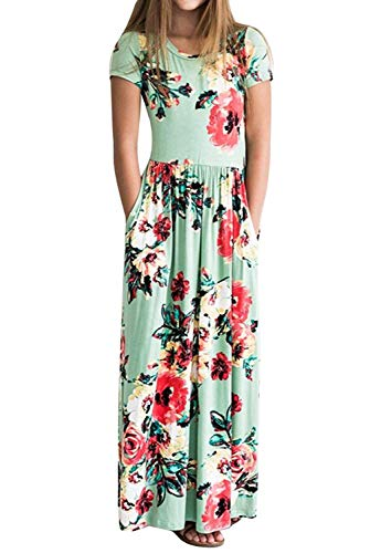 Dutebare Girls Short Sleeve Maxi Dress Floral Printed Casual T-Shirt Dress with Pockets Green 120